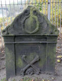 Gravestone in North Leith Graveyard  -  John Wilson, died 1713  -  back of the gravestone