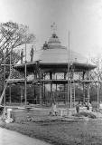 Bandstand at The Meadows being dismantled by Edinburgh Parks Dept, 1950