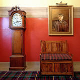 Merchiston Castle School  -  Grandfather Clock and Portrait of a Headmaster, Thomas Harvey MA LLD, Headmaster from 1856 to 1863