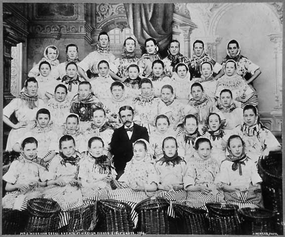 Newhaven  Fishergirls' Choir and Mr John Cooke  -  Photo by John McKean, Leith  -  1896.