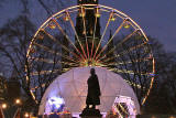 Edinburgh, Christmas 2005  -  The statue of Adam Black, Lord Provost and MP, Bungydome and Edinburgh Wheel.  The Scott Mounument is in the background.