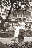 Alan Raeburn's Dad and sister Eileen at the Floral Clock in Princes Street Gardens, 1958