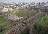 View from Edinburgh Castle  -  Trains passing through Princes Street Gardens  -  2007