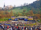 The Ross Bandstand in West Princes Street Gardens and Ramsay Garden  -  during the 'Scotland v England' Rugby International Match on 22 March 2003