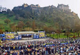 The Ross Bandstand in West Princes Street Gardens and Edinburgh  Castle  -  during the 'Scotland v England' Rugby International Match on 22 March 2003