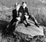 Tam Croal and his brother, Brian, on the Slidey Stane in Holyrood Park