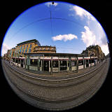 Tram at St Andrew Square, November 2014  -  Photographed with an 8mm fisheye lens
