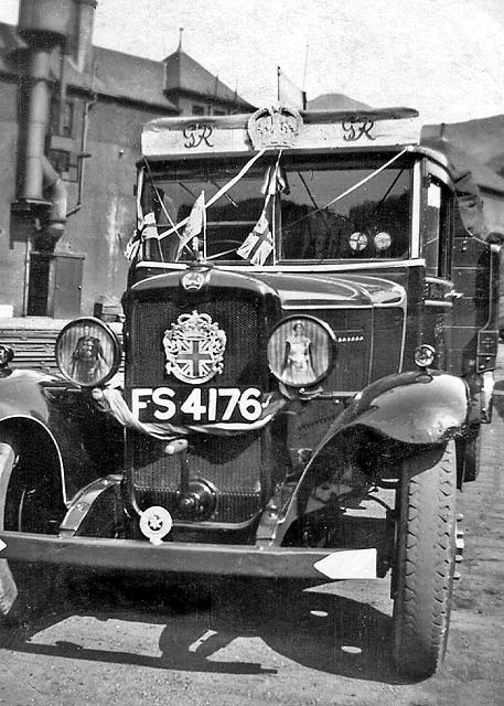 One of the Leckie Coal Lorries from St Leonard's Yard, decorated for the Coronation of King George VI on May 12, 1937