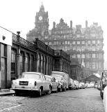 Waverley Market Entrance from Waverley Bridge, and North British Hotel - 1969