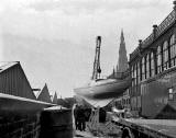 East German Boat being delivered to the Ideal Holiday Show at Waverley Market, 1959