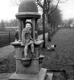 Winnie Lisowski's husband as a child at a fountain in an Edinburgh park