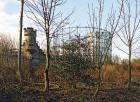 Edinburgh Waterfront  -   The remains of Granton Castle Wall and two gasometers  -  5 March 2003
