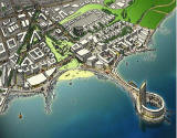 Edinburgh Waterfront  -  Artist's impression of a proposed teardrop island