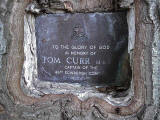 Memorial Plaque to Tom Curr, embedded in a tree at Lilliesleaf, near Melrose, in the Scottish Borders