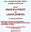 Edinburgh History - 1958  -  Adverts for the introduction of new diesel services  -  Princes Street and Leith (North)