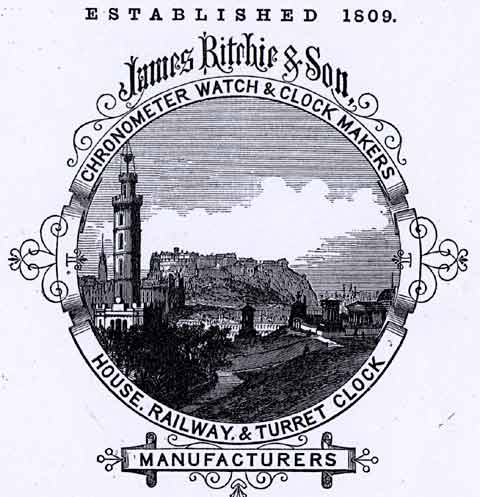 Detail from an advert in the Edinburgh & Leith Trade Directory  -  1867  -  Ritchie, Clockmakers, with a view from Calton Hill