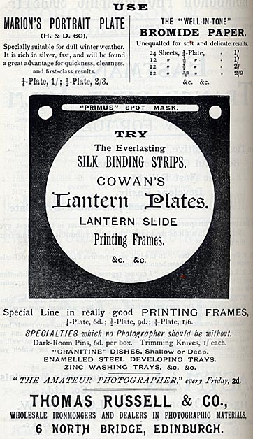 Thomas Russell  -  Advertisement in Transactions of the Edinburgh Photographic Society, 1896