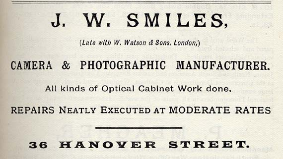J W Smiles  -  Advertisement in Transactions of the Edinburgh Photographic Society, 1890