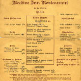 Menu from the Beehive InnRestaurant  -  1950