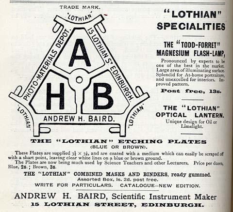Advertisement for A H Baird's business  -  Transactions of Edinburgh Phootgraphic Society, 1893