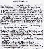 Advert in The Scotsman for a Public Lecture on Photography to be given by Dr Fyfe at the Assembly Rooms, Edinburgh on 17 April 1839