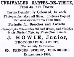 Advert from Edinburgh & Leith Post Office Directory  -  1869  James Howie Junior