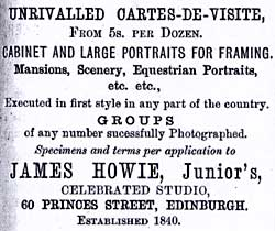 Advert from Edinburgh & Leith Post Office Directories  -  1876-77  -  James Howie Junior