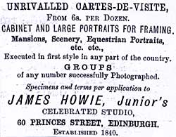Advert from Edinburgh & Leith Post Office Directories  -  1878-83