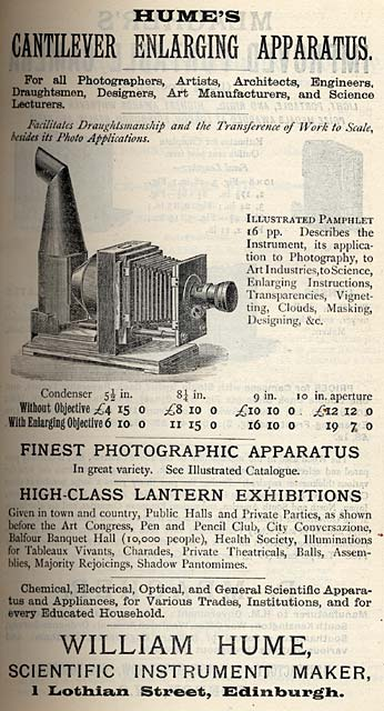 William Hume  -  Advert for Cantilever Enlarging Apparatus  - Transactions of Edinburgh Photographic Society, 1890