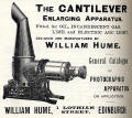William Hume  -  Advert for Cantilever Enlarging Apparatus  - Transactions of Edinburgh Photographic Society, 1896