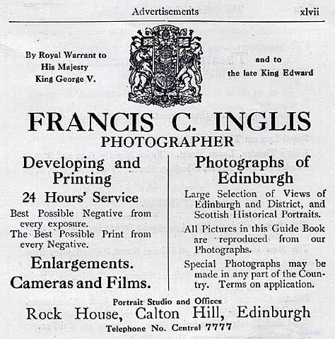 Francis Caird Inglis  -  Advert in Edinburgh Official Guide, 1923