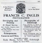 Francis Caird Inglis  -  Advertisement in 1923 Edinburgh Official Guide
