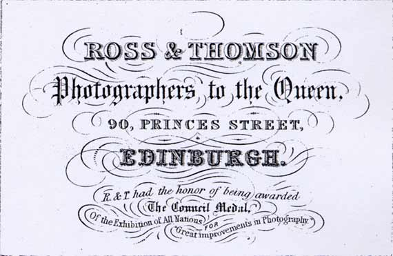 Advert in the Edinburgh & Leith Post Office Directory  -  1853  -  Ross & Thomson