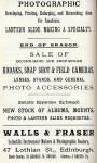 Advert  -  Walls & Fraser  -  in Transactions of the Edinburgh Photographic Society, November 1897