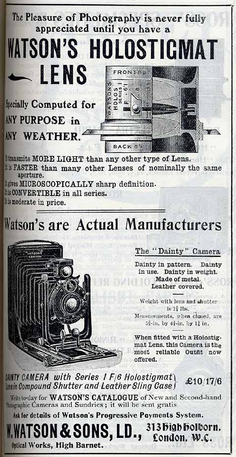 W Watson & Sons Advert  -  February 1912