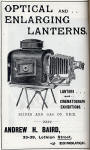 Advert in A H Baird's journal, 'Photogaraphic Chat'  -  Enlarging Lanterns