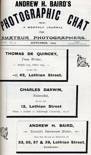 Photographic Dealers  - A H Baird  -  Adverts in his journal, Photographic Chat  - 1903  -  Page One