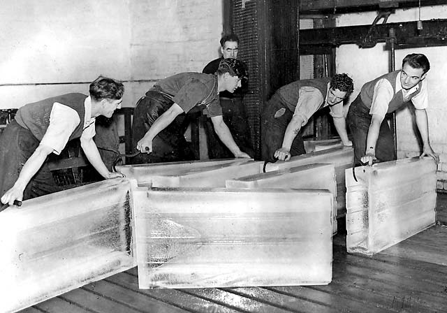 Ice blocks leaving the old Granton Ice Factory  -  pre-1952