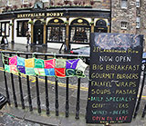 "Scarf with ""Hogmanay Greetings"" foound on the railings beside Greyfriars' Bobby on New Year's Day, 2015"