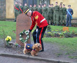 Laying a Wreath at Greyfriars Bobby's Tombstone