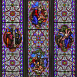 Greyfriars Church  -  Stained Glass Windows at the east end of the church,  zoom-out