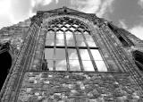 Looking up to Holyrood Abbey Window from the grounds of Holyroodhouse  -  June 2010