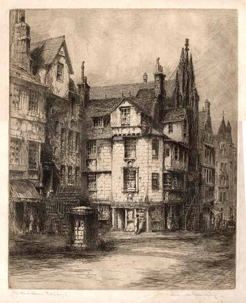John Knox House  -  a lithograph by JD Harding  -  c1854