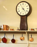 Lauriston Castle - Kitchen - zoom-in to clock and pans  -  October 2011
