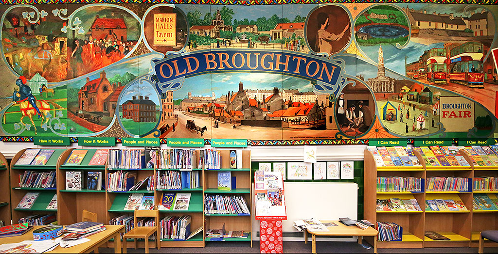 Broughton Mural on the wall at McDonald Road Library, Edinburgh