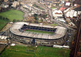 Looking down on Murrayfiedl Stadium and Roseburn