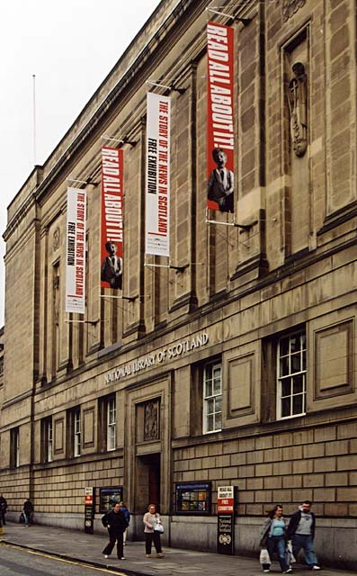 The National Library, George IV Bridge  -  with banners for the 'Read All About It' exhibition