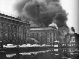 Fire at North British Rubber Company's Castle Mills, beside the Union Canal, Fountainbridge, Edinburgh  -  January 1962