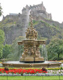 The Ross Fountain in Princes Street Gardens and Edinburgh Castle  -  September 2007