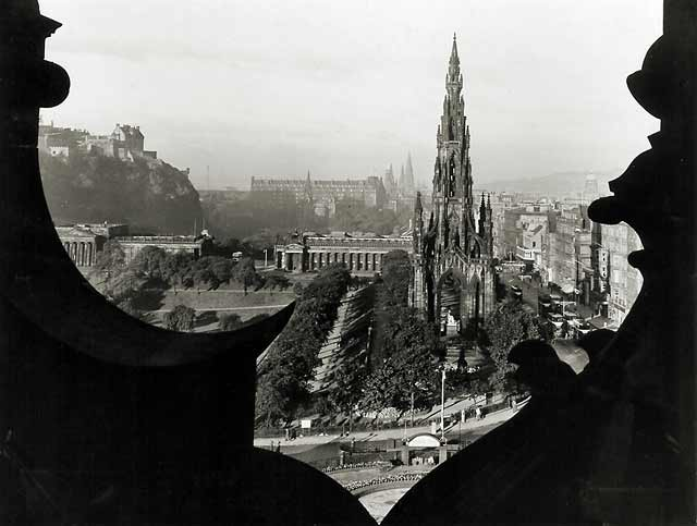 Photograph by Norward Inglis  -  View towards the Scott Monument and beyond from high on the North British Hotel